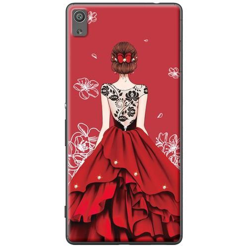 Ốp lưng nhựa dẻo Sony XA Ultra Cô gái đầm đỏ