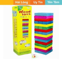 Bộ đồ chơi rút gỗ 48 thanh màu sắc loại gỗ tốt + 1 xúc xắc