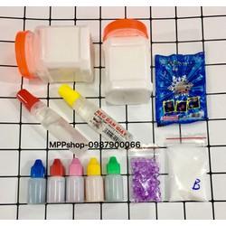 sét làm slime:2 keoATM,1 tuyết,5 mầu thực phẩm,2 hồ trong,borax,fisbow