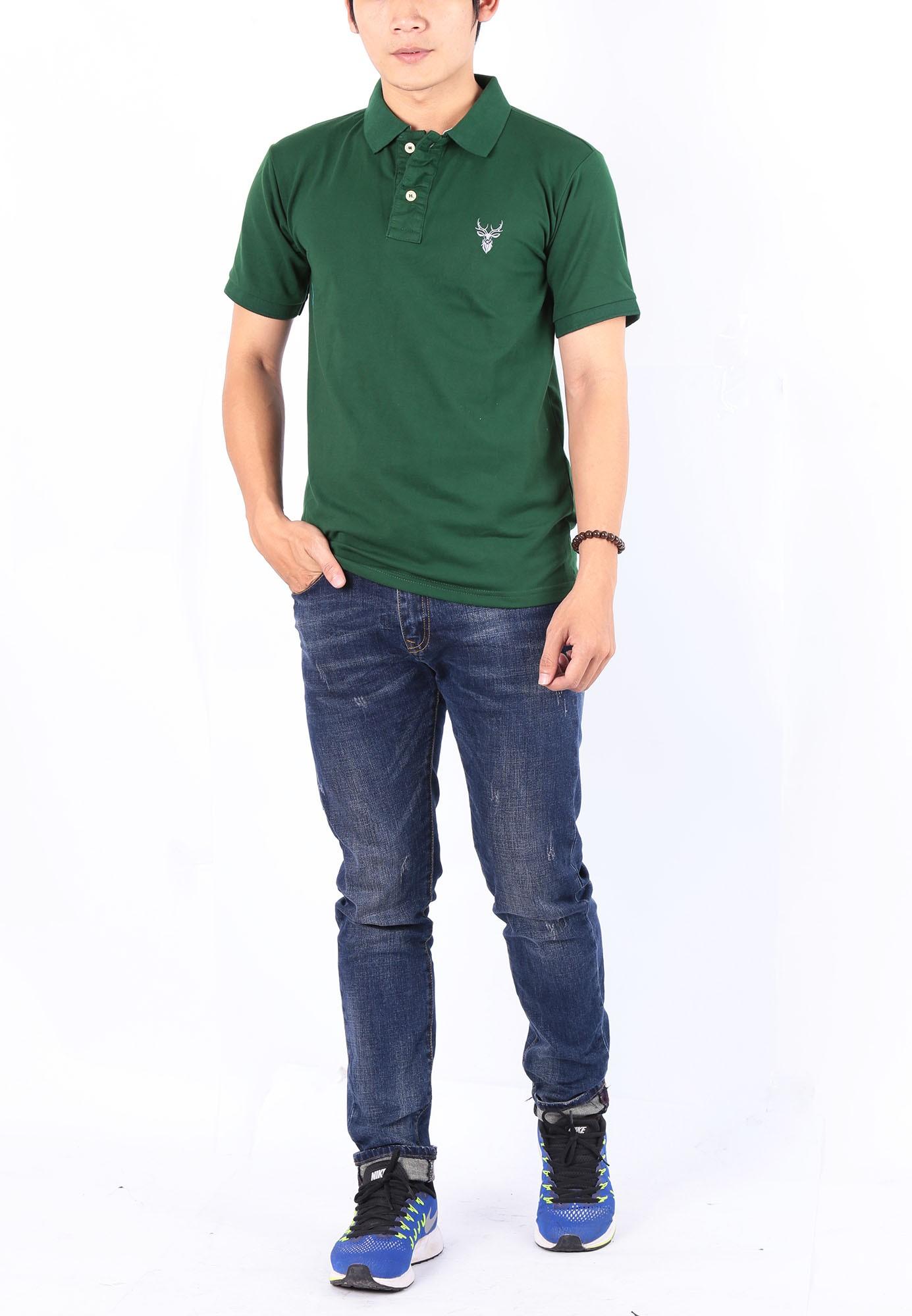 Áo thun nam cổ bẻ chuẩn phong cách Pigofashion PG01 - xanh rêu - P)1xanhreu
