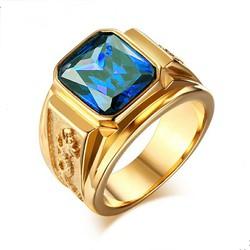 Nhẫn nam inox chạm rồng mạ màu vàng đá xanh dương