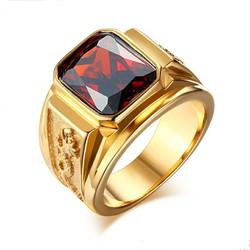 Nhẫn nam inox chạm rồng mạ màu vàng đá đỏ