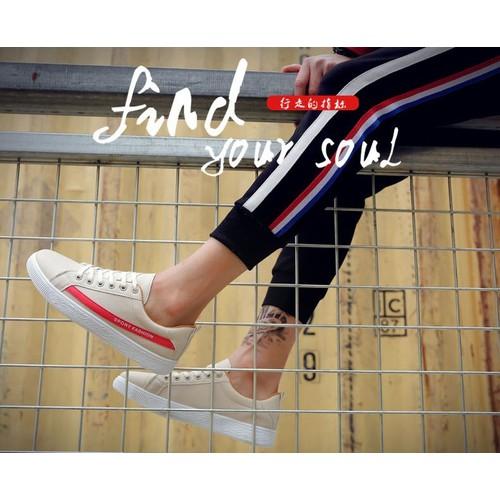 GIẦY SNEAKER DA Nam Kẻ SPORT FASHION [ TRẮNG KEM - ĐỎ ] New HOT