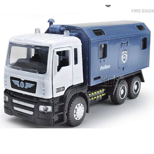 Xe ô tô tải cảnh sát chạy cót có âm thanh và đèn mở được cửa xe đồ chơi trẻ em