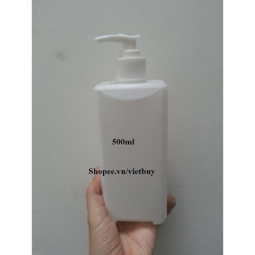 Chai nhựa trắng vuông đầu xịt giọt 500ml A10