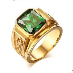 Nhẫn nan inox chạm rồng mạ màu vàng đá xanh lá cây