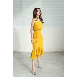 Set bộ áo hai dây - chân váy ôm đuôi cá vàng