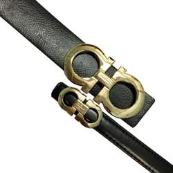 Thắt lưng đôi nam nữ mặt số tám hợp kim vàng dây đen cực đẹp TLDO1