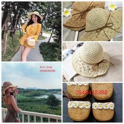 Combo túi cói hoa cúc và mũ móc mềm