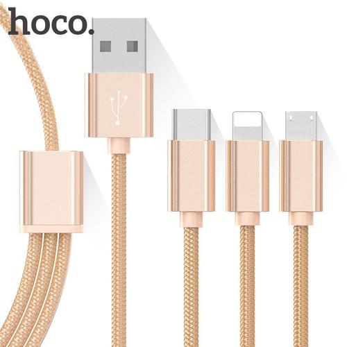 Cáp sạc đa năng HOCO 3 trong 1 Lighting, MicroUSB, Type-C Vàng đồng - 10662741 , 10608935 , 15_10608935 , 89000 , Cap-sac-da-nang-HOCO-3-trong-1-Lighting-MicroUSB-Type-C-Vang-dong-15_10608935 , sendo.vn , Cáp sạc đa năng HOCO 3 trong 1 Lighting, MicroUSB, Type-C Vàng đồng