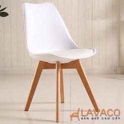 Ghế cafe nhựa chân gỗ Eames nhập khẩu cao cấp Lavaco- mà trắng