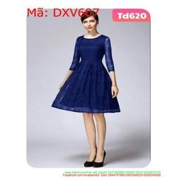 Đầm xòe dự tiệc dài tay vải ren thiết kế sang trọng DXV607