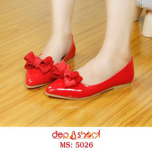 Giày Búp Bê Mũi Nhọn Đính Nơ Màu Đỏ Size 33 Đến 43