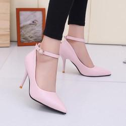 Giày cao gót 7 phân gót nhọn đơn giản có quai 3 màu trắng, hồng, đen