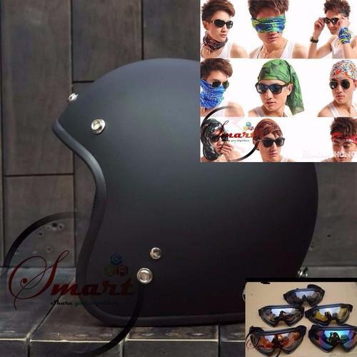 Combo mũ bảo hiểm 3-4 tốt + kính uv + 1 khăn đa năng