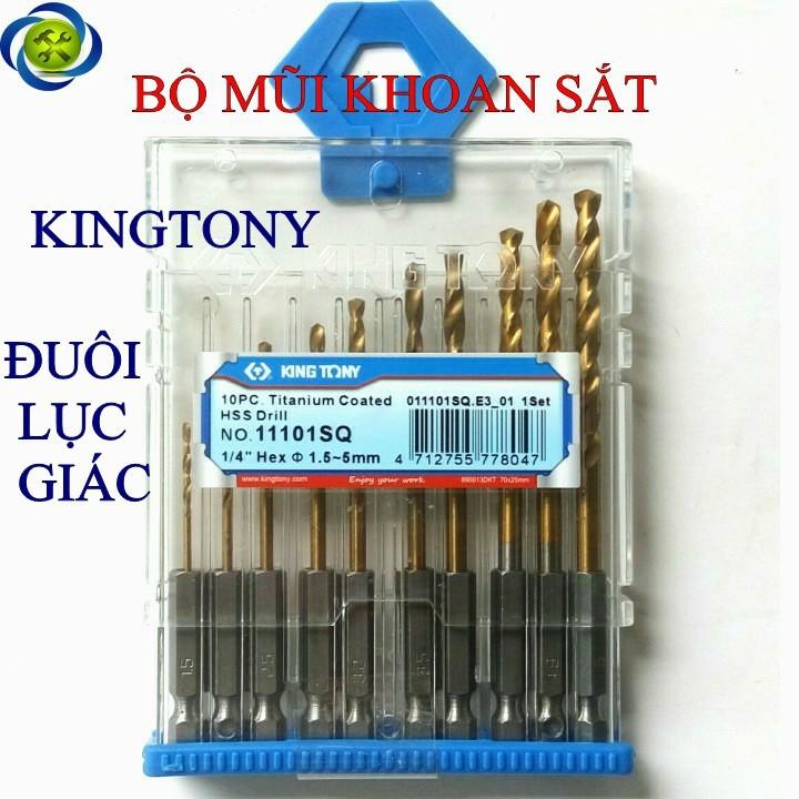 Bộ mũi khoan sắt đuôi lục giác Kingtony 11101SQ 10 mũi 1