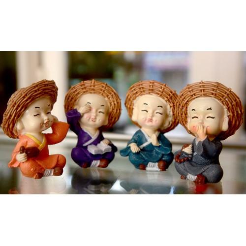 Bộ tượng bốn Chú Tiểu Tứ Không đội nón