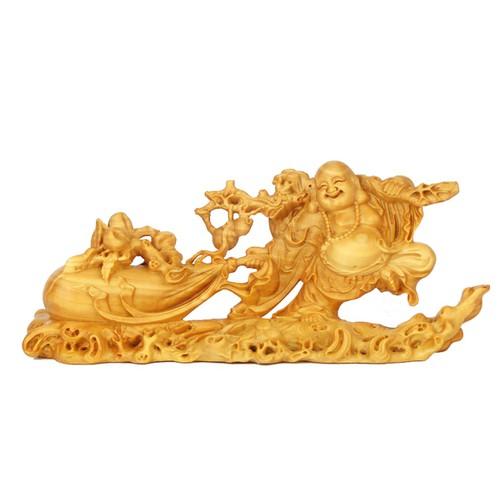 Tượng Phật Di Lặc kéo bao bằng gỗ Hoàng Dương