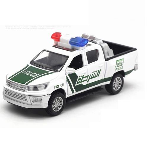 Xe ô tô cảnh sát đồ chơi tỉ lệ 1:32 bằng sắt có đèn và âm thanh mở được cửa xe