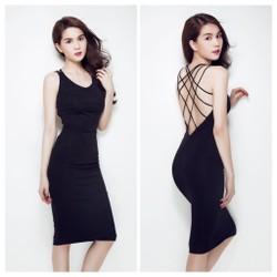 Đầm Ngọc Trinh ôm body kiểu hở lưng thiết kế chéo lưng sexy