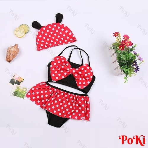 Áo tắm váy bơi cho bé nữ 2 - 6 tuổi + Kèm mũ, Áo bơi nơ chấm bi - POKI