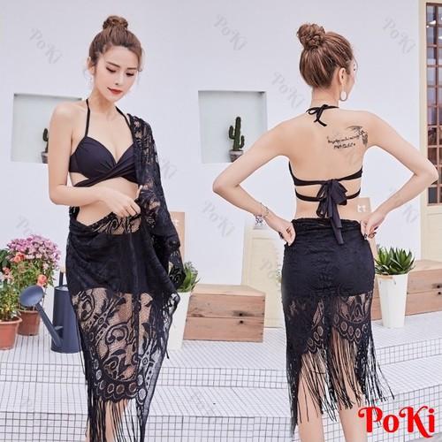 Bộ đồ bơi ren 2 mảnh sexy TÔN DÁNG Size XL Tặng khăn choàng - POKI
