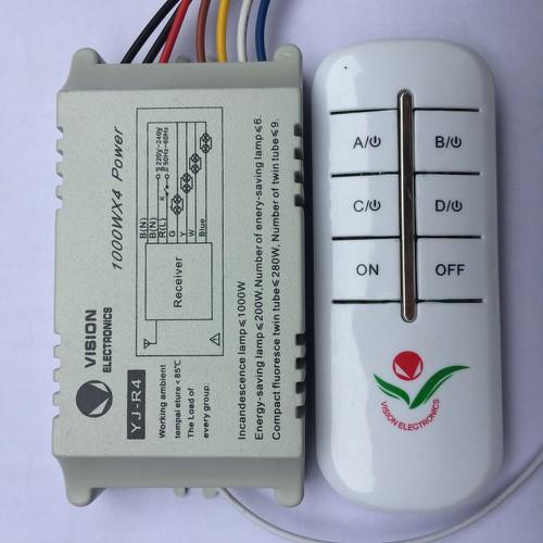 Công tắc điều khiển từ xa không dây sóng RF 4 kênh xuyên tường