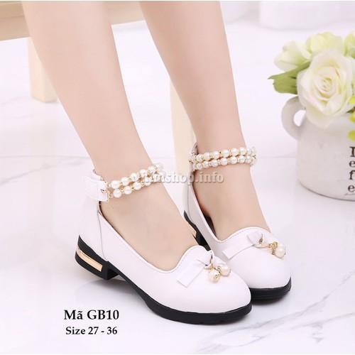 Giày trắng điệu đà cho bé gái 3 - 12 tuổi GB10