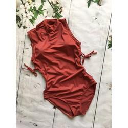 Bikini 1 mảnh trơn cổ lọ nâu đất