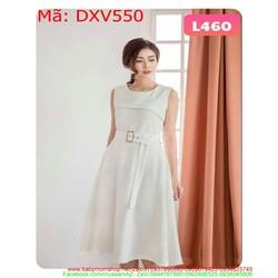 Đầm xòe dự tiệc sát nách thắt lưng eo xinh đẹp thời trang DXV550