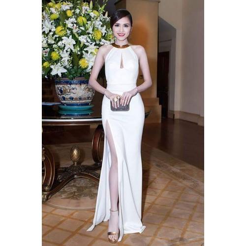 Đầm dạ hội thiết kế xẻ tà đơn giản ôm body cổ kiềng