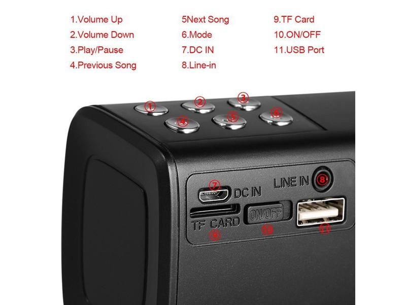Loa Bluetooth gắn usb thẻ nhớ màn hình LED hiển thị PKCB2080 6