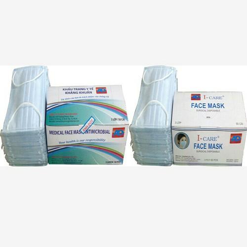 Combo 3 hộp khẩu trang y tế kháng khuẩn 3 lớp 50 cái 1 hộp