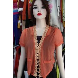 Áo khoác nhẹ- len giấy pha ren- màu cam tươi