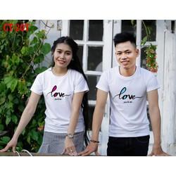 áo thun cặp tình  nhân CHỮ LOVE TRẮNG