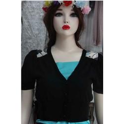 Áo khoác lửng- len kim pha voan hoa- màu đen