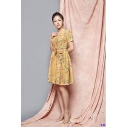 Đầm Xòe Hoa Tiết Hoa Thắt Nơ Eo Xinh Xắn