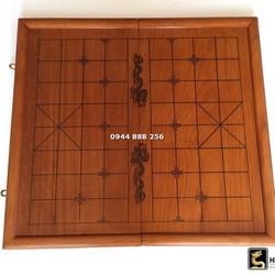 Bàn Cờ Tướng gỗ hương gấp đôi Nguyên Tấm 50 x 55cm [ Bộ cờ tướng tượng hình ]
