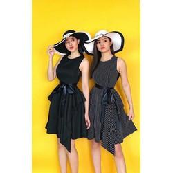 Đầm xoè tầng phối ren cột eo