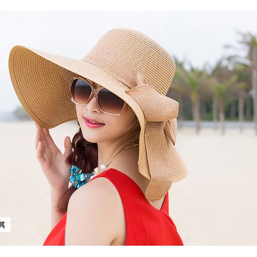 mũ cói đi biển thắt nơ sang trọng, nón đi biển, nón rộng vành