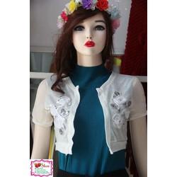 Áo khoác lửng- kết cườm và hoa voan- màu trắng