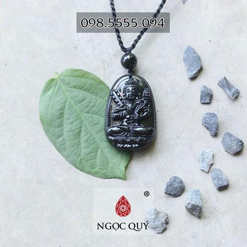 Mặt dây chuyền hư không tạng bồ tát đá obsidian 5x3cm - ngọc qúy gemstones