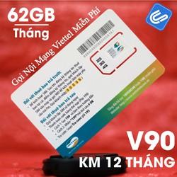 Sim 4G Viettel V90, KM 60GB-Tháng, Gọi miễn phí nội mạng-Zone Hà Nội