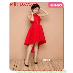 Đầm xòe dự tiệc cổ yếm phom đuôi tôm màu đỏ sang trọng DXV537