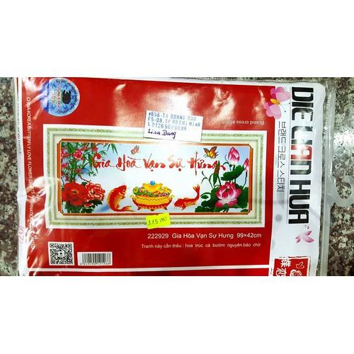 Tranh thêu GIA HÒA VẠN SỰ HƯNG-99x42cm