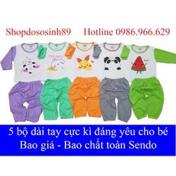 [ Sale ]  5 bộ dài tay thu đông cho bé trai và bé gái