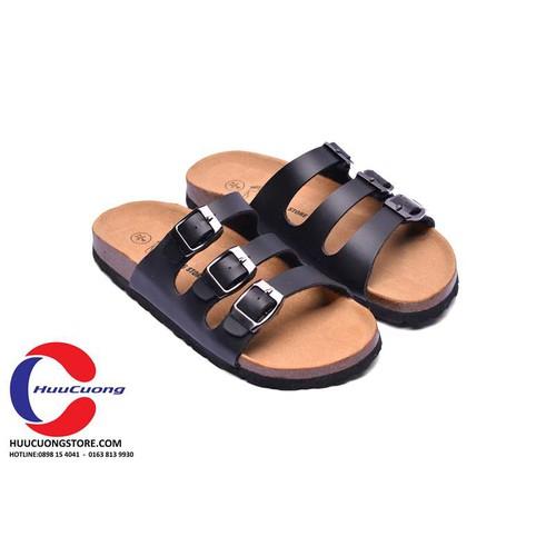 Dép sandal 3 quai đen quai pu xuất khẩu - Huucuong store