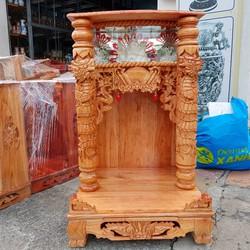 bàn thờ thần tài ông địa gỗ xoan ngang 60 quỳ trụ điện tử ngang 60 cm