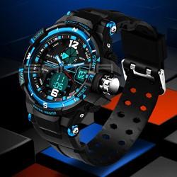 Đồng hồ thể thao chống nước Sanda 289 Dây silicon blue
