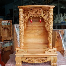 bàn thờ thần tài ông địa gỗ xoan quỳ trụ ngang 42 cm